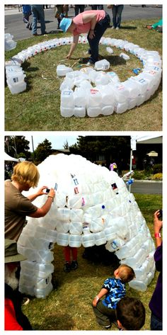 ReFab Diaries: Repurpose: Milk Jug Fort / Igloo  MUST.DO.THIS.