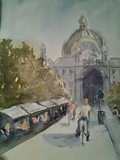 Pintar acuarelas: Estación de Amberes