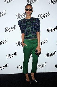 Zoe Saldana in green trousers