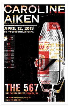 """11"""" x 17"""" original three color silkscreen print for the Caroline Aiken show at The 567 in Macon, Ga."""