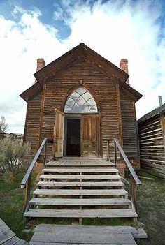 Church circa 1870 in Bannack, Montana, known as The Ghost Town.