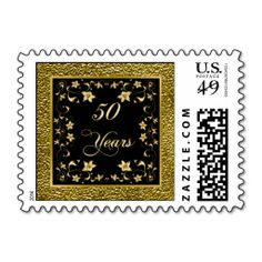 50 Years Black and Gold Floral Anniversary Postage. This great business card design is available for customization. All text style, colors, sizes can be modified to fit your needs. Just click the image to learn more!