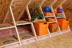 The AtticMaxx Shelving System creates terrific storage space for fall decorations in typically unused space between attic trusses. #storage #fall decorations #organize
