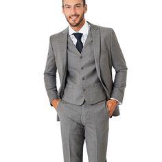 2017 Handsome Grey Pinstripe Slim Fit men Suit Formal Party wedding suits for men Groom Tuxedos Wear Peaked Lapel Best Man Suit