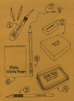 Geninnes Art Blog -how to carve your own rubber stamps