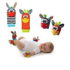 Lisli 4pcs Baby Infant Toddler Animal Wrist and Foot Rattle Kids Toys Socks Rattles Newborn Hand & Foot Toys Developmental PlushToys Foot Wear Accessories