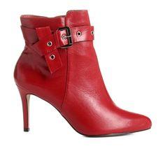15530bf0a2 Bota Couro Cano Curto Shoestock Salto Fino Fivela Feminina - Vermelho