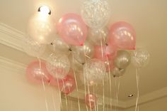Winter pink and grey balloons | winter birthday party ideas and decor