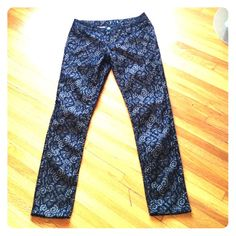 """Lacy stretch jeans fits 8-10 Black lace over nude stretch jeans. Low waist fits up to 36""""; rise 8.5""""; inseam 31""""; outseam almost 41"""". NWOT condition Pants"""