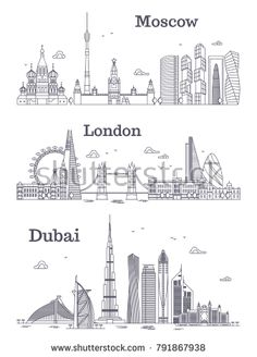 Stock Vector: Moscow, London, Dubai linear landmark, modern city skyline, panorama with buildings. City Outline, Architecture Drawing Sketchbooks, Graffiti Doodles, City Drawing, Skyline Silhouette, Dubai City, Skyline Art, Building Art, World Cities