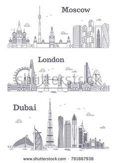 Stock Vector Moscow London Dubai Linear Landmark Modern City Skyline Panorama
