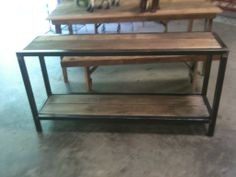 Custom iron and refinished wood buffet table