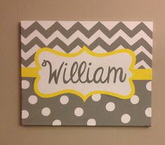 Hand painted personalized name canvas baby boy nursery chevron by TheCraftyFoxLR, $35.00