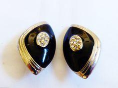 VINTAGE SILVER TONE METAL CRYSTAL BLACK ENAMEL DESIGN CLIP EARRINGS - Earrings