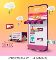 Shopping Online On Mobile Vector Stock Vector (Royalty Free) 1142878328 Ads Creative, Creative Posters, Web Design, Logo Design, Logo Online Shop, Shopping Quotes, Mobile Shop, Banner Template, Online Shopping