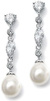 Exquisite, Dangle CZ  Stones and Bezels with Soft  Ivory Teardrop Shaped Pearsl Earrings,  1.75