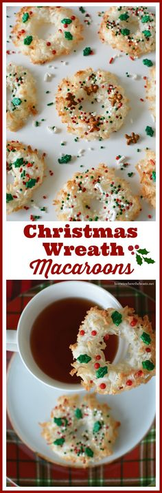Christmas Wreath Macaroons! Only 4 ingredients and as fun to make as they are to eat! | homeiswheretheboatis.net #glutenfree #cookie