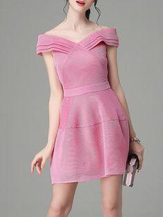Pink Sexy Plain Off-shoulder Mini Dress