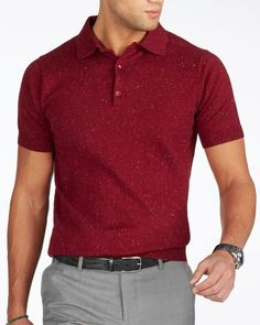 Red speckle short sleeve polo – Knitwear  Mensoutfits Red Polo Shirt  Outfit e4bbb12e8ec