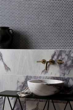 Planning a bathroom renovation? Check out the latest trends in tiles for your project. Textured finishes, patterned designs and large format tiles, the collections in this article focus on the key tile trends for Bathroom Interior Design, Home Interior, Kitchen Interior, Calacatta Marble, Marble Tiles, Tiling, Marble Wall, Mandarin Stone, Stone Bathroom