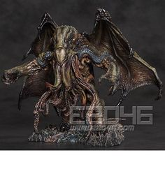 Call Of Cthulhu - H.Lovecraft - Cthulhu Polystone Statue By Paul Komoda Gecco Lovecraft Cthulhu, Hp Lovecraft, Call Of Cthulhu, Creature Feature, Creature Design, Weird Creatures, Fantasy Creatures, Zbrush, Statues