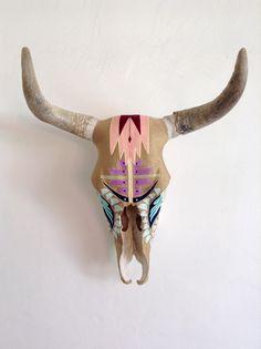 Desert Dawn - Yarn painted cow skull. Indigenous art form collaboration. Evoke the Spirit in Sayulita, Mexico