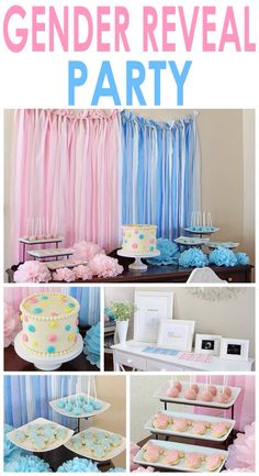 Powder Pink/Baby Blue Gender Reveal Part w/ cake, decorations, and photo stands.