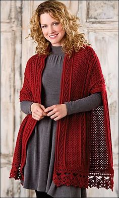 The Lisdoonvarna shawl (designed by Bonnie Barker) consists of a crocheted stole with additional back piece to make it more like a cape. Beautiful use of cables, plus rib and lace edgings. Can be found on Revelry and in Crochet! Magazine at http://www.crochetmagazine.com/inthisissue.php