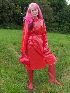 Red Raincoat, Vinyl Raincoat, Plastic Raincoat, Imper Pvc, Latex, Rain Gear, Bronze, Unisex, Black Rubber