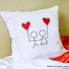 Felt Cartoon Red Heart Balloons Pillow Tutorial