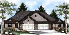 Elevation of European   Multi-Family Plan 73452 Open Concept. 4pc on suite