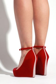 Red Wedge Heels