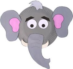 Elephant face made from a paper plate and other inexpensive craft items