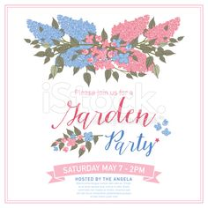 Pretty feminine Pink and Blue Garden Party Invitation Template royalty-free stock vector art
