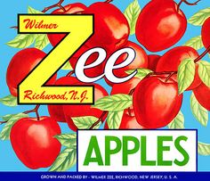This fruit crate label was used on Wilmer Zee Apples, c. 1950s: 'Wilmer Zee Apples. Richwood, N.J. Grown and Packed by Wilmer Zee, Richwood, New Jersey, U.S.A.' Crate labels were a frequent means of m