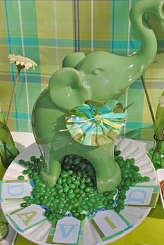 Elephant Baby Shower Centerpieces   Real Baby Shower: Lucky Green Elephant Baby Shower   Baby Lifestyles