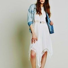 Free People Boho Lace Slip Dress New Intimately Free People ivory sheer trapeze slip dress with high neckline, lace detailing, and an asymmetric hem. Free People Dresses High Low