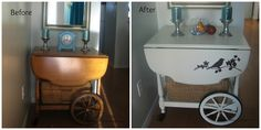 See the transformation of this tea cart and how this birds painted on it.