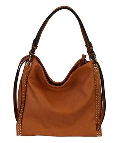 Look at this #zulilyfind! Brown Two-Side Studded Hobo by Diophy #zulilyfinds