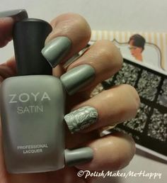 Add a stamp for an accent nail... Sinful Colors, Snow Me White on Zoya Tove. Simple but classy... The stamping plate is Moyou Pro Collection XL-10. #notd #stamping