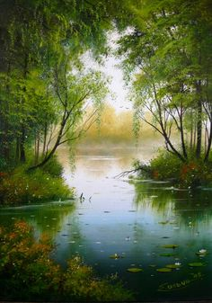 ⎰Misty river painting, so inviting. Nature Paintings, Beautiful Paintings, Beautiful Landscapes, Pictures To Paint, Nature Pictures, Landscape Art, Landscape Paintings, River Painting, Painting Inspiration
