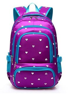 06146765ab8e Fashion Girls Backpack for Kids Elementary School Bag Girly Bookbag Children  17 Inch Nylon Heart Print (Purple   Blue) Girls Backpacks
