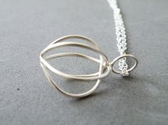 Sterling Silver Cage Necklace Minimalist Pendant Necklace Empty Cage Handmade by SteamyLab