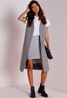 Longline Sleeveless Tailored Wool Blazer Grey - Blazers - Sleeveless Blazers - Missguided