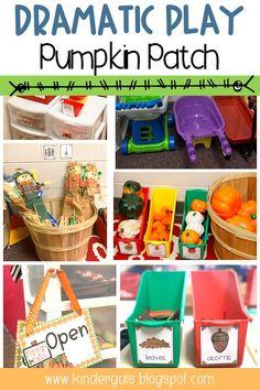 KinderGals: Easy Steps to Set Up a Pumpkin Patch Dramatic Play Center Fall Preschool, Kindergarten Centers, Preschool Classroom, Preschool Activities, Preschool Set Up, Classroom Ideas, Dramatic Play Themes, Dramatic Play Area, Dramatic Play Centers