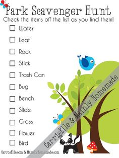 Park Scavenger Hunt and Outdoor Party to Get Kids Active. Plus free printable for a scavenger hunt at the park. Outdoor Scavenger Hunts, Nature Scavenger Hunts, Scavenger Hunt For Kids, Outdoor Activities For Kids, Learning Activities, Games For Kids, Kids Fun, Nature Activities, Church Activities