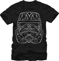 Embrace your allegiance to the Empire and your Star Wars nerd status with this detailed t-shirt of a prequel series style Stormtrooper's exterior head armor.  The t-shirt uses dark and light to empathize the battle between good and evil.  Which side are you on?