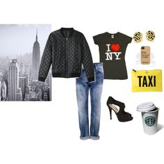 """GoodMorning NewYork"" by workingincloset on Polyvore #ny #newyork #taxi #outfits http://workingincloset.blogspot.it/"