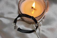 Pulsera hilo cuero negro con cuentas metálicas triskel