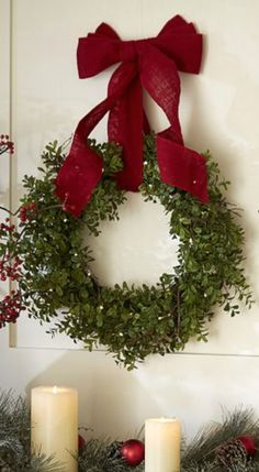 Hang your wreath with gorgeous red burlap ribbon